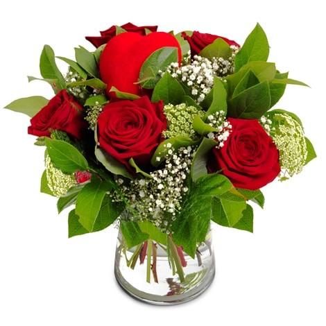 Rosen mit Herz in rot