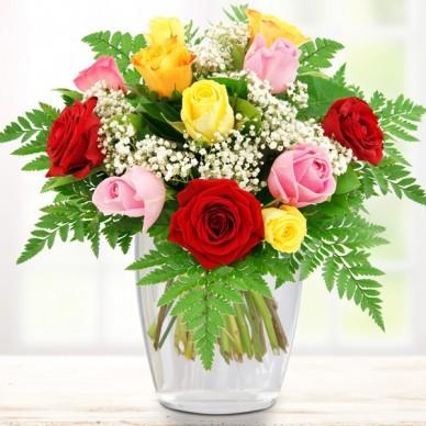 12 bunte Rosen bestellen