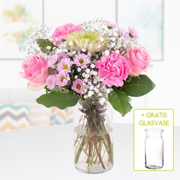 Blumenstrauß Pink + gratis Glasvase versenden