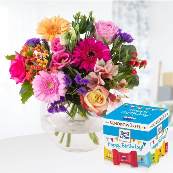Blumenstrauß Kunterbunt mit Schokowürfel Happy Birthday