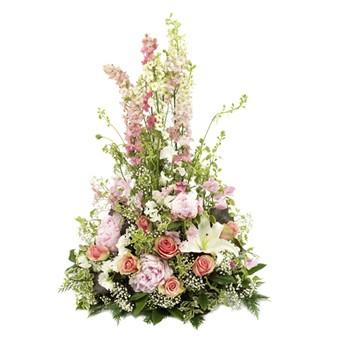 Trauergesteck weiß- und rosafarbig